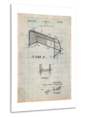 Soccer Goal Patent Art-Cole Borders-Metal Print