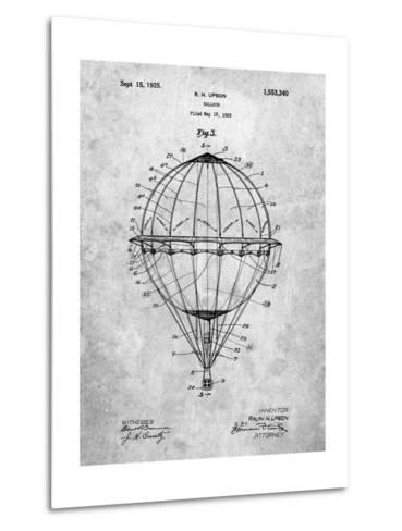 Hot Air Balloon 1923 Patent-Cole Borders-Metal Print