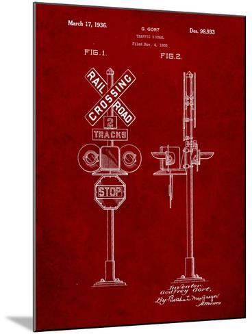 Railroad Crossing Signal Patent-Cole Borders-Mounted Art Print