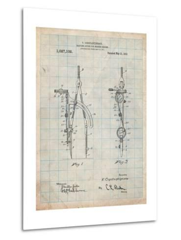 Drafting Compass 1912 Patent-Cole Borders-Metal Print
