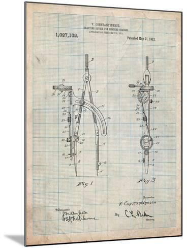 Drafting Compass 1912 Patent-Cole Borders-Mounted Art Print