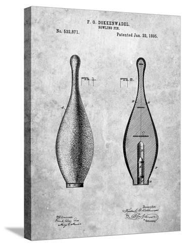 Vintage Bowling Pin Patent-Cole Borders-Stretched Canvas Print