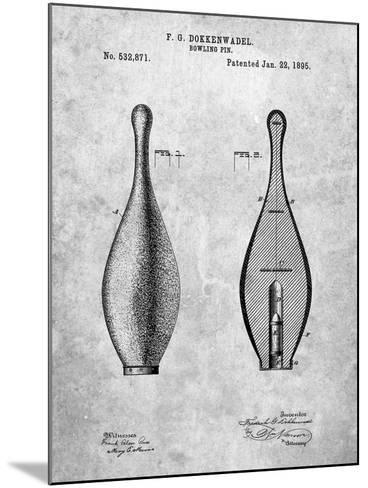 Vintage Bowling Pin Patent-Cole Borders-Mounted Art Print