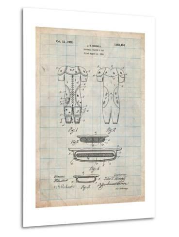 Football Pads Patent-Cole Borders-Metal Print