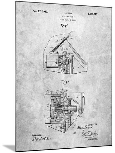 Ford Car Starter Patent-Cole Borders-Mounted Art Print