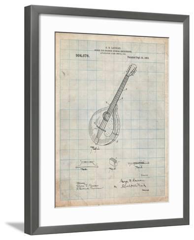 Gibson Mandolin Bridge Patent-Cole Borders-Framed Art Print