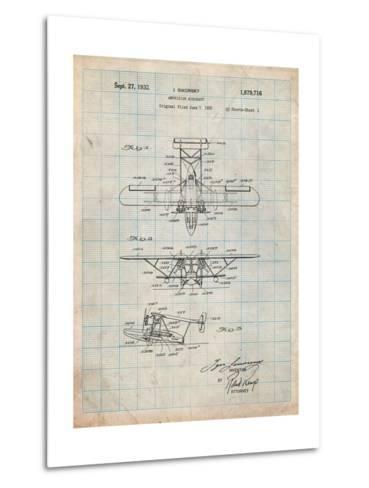 Sikorsky Amphibian Aircraft 1929 Patent-Cole Borders-Metal Print