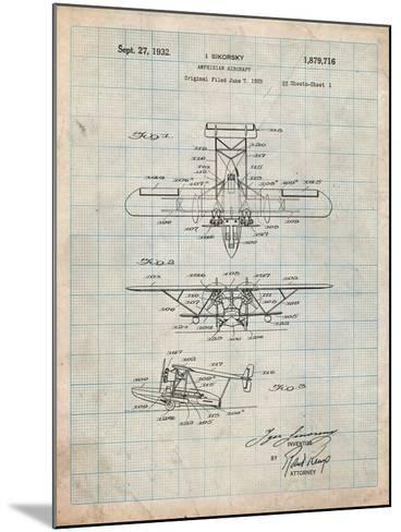 Sikorsky Amphibian Aircraft 1929 Patent-Cole Borders-Mounted Art Print