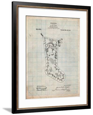 Christmas Stocking 1912 Patent-Cole Borders-Framed Art Print