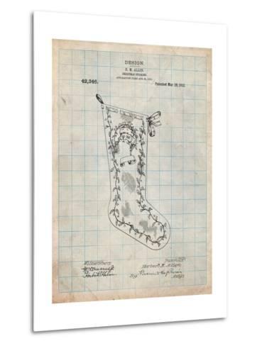 Christmas Stocking 1912 Patent-Cole Borders-Metal Print