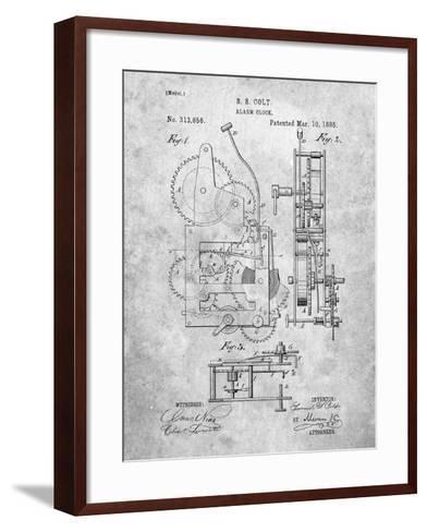 Vintage Alarm Clock Patent 1885-Cole Borders-Framed Art Print