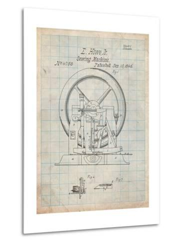 Sewing Machine Patent 1846-Cole Borders-Metal Print