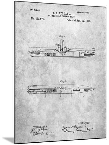 Submarine Vessel Patent-Cole Borders-Mounted Art Print