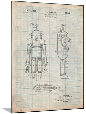 Deep Sea Diving Suit Patent-Cole Borders-Mounted Art Print