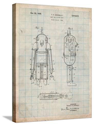 Deep Sea Diving Suit Patent-Cole Borders-Stretched Canvas Print
