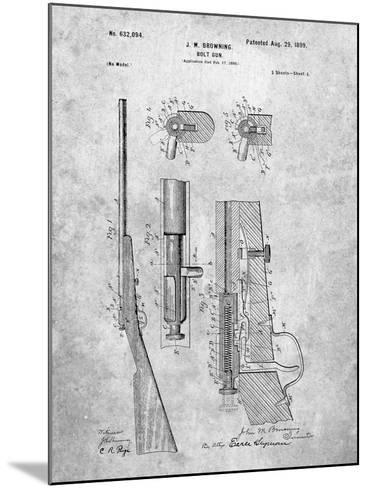 Browning Bolt Gun Patent-Cole Borders-Mounted Art Print