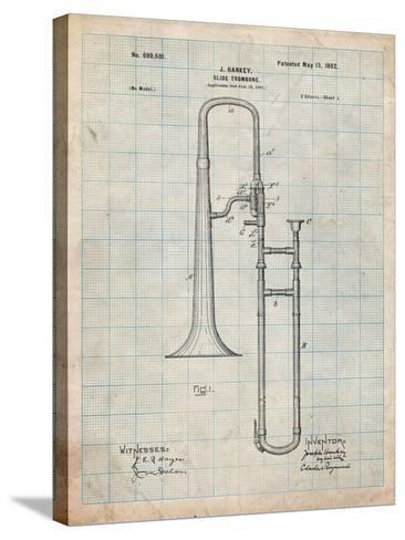 Slide Trombone Instrument Patent-Cole Borders-Stretched Canvas Print