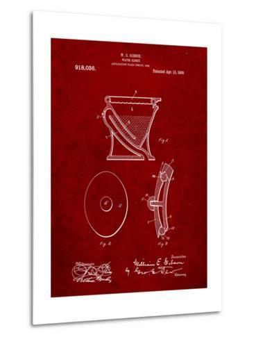 Water Closet Patent-Cole Borders-Metal Print