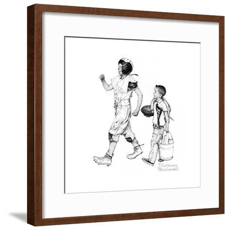 Football Hero-Norman Rockwell-Framed Art Print