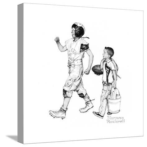 Football Hero-Norman Rockwell-Stretched Canvas Print