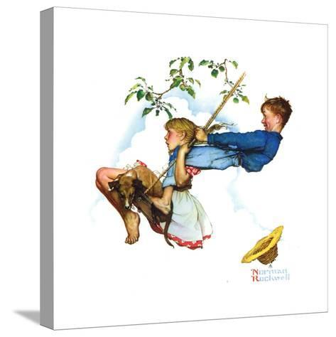 Young Love: Swinging-Norman Rockwell-Stretched Canvas Print