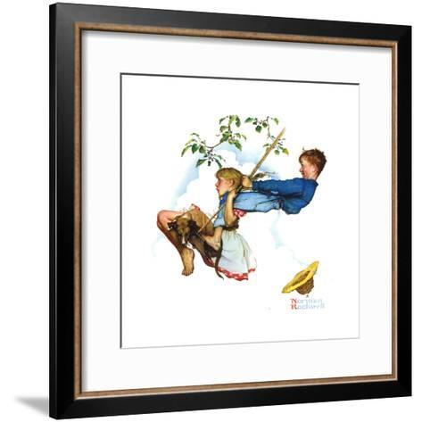 Young Love: Swinging-Norman Rockwell-Framed Art Print