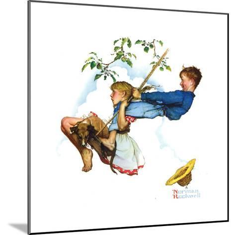 Young Love: Swinging-Norman Rockwell-Mounted Giclee Print
