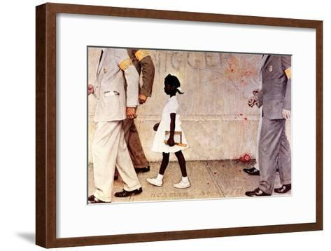 The Problem We All Live With (or Walking to School--Schoolgirl with U.S. Marshals)-Norman Rockwell-Framed Art Print