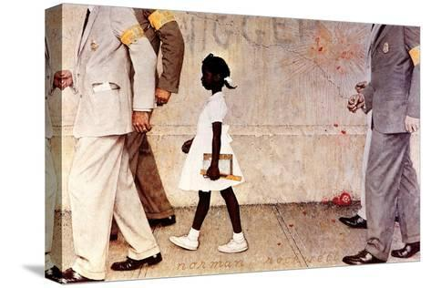 The Problem We All Live With (or Walking to School--Schoolgirl with U.S. Marshals)-Norman Rockwell-Stretched Canvas Print