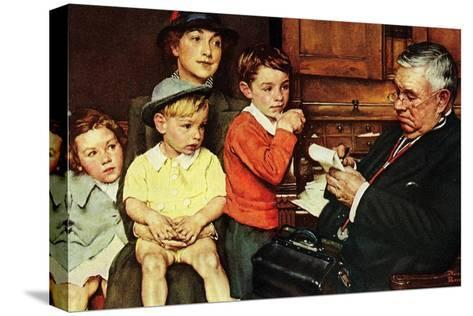 When the Doctor Treats Your Child (or Doctor Checking up Children)-Norman Rockwell-Stretched Canvas Print