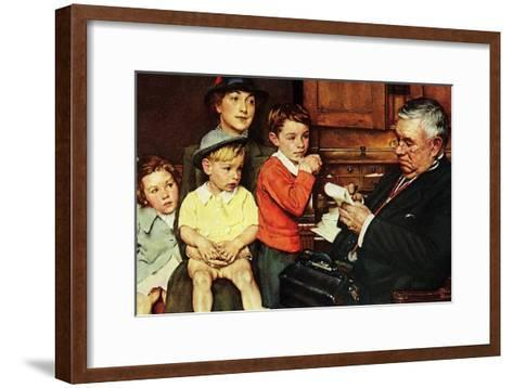 When the Doctor Treats Your Child (or Doctor Checking up Children)-Norman Rockwell-Framed Art Print