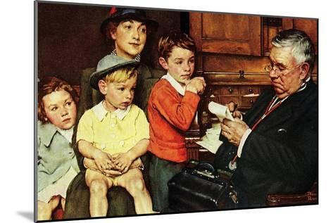 When the Doctor Treats Your Child (or Doctor Checking up Children)-Norman Rockwell-Mounted Giclee Print