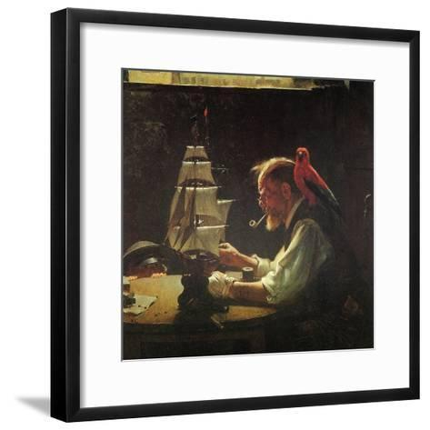 For a Good Boy (or Sea Captain Building Ship Model)-Norman Rockwell-Framed Art Print