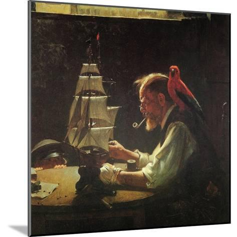 For a Good Boy (or Sea Captain Building Ship Model)-Norman Rockwell-Mounted Giclee Print