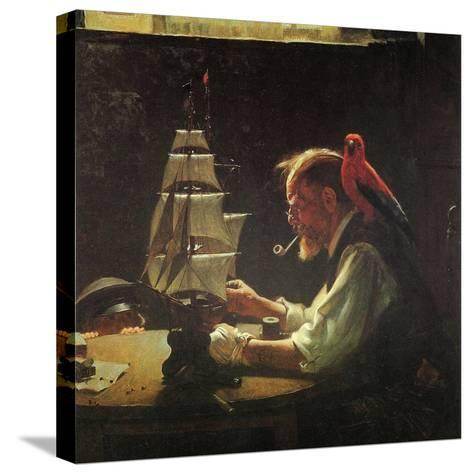 For a Good Boy (or Sea Captain Building Ship Model)-Norman Rockwell-Stretched Canvas Print