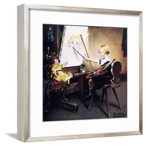 The Artist?s Daughter (or Little Girl with Palette at Easel)-Norman Rockwell-Framed Art Print