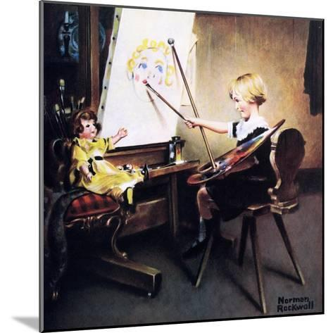 The Artist?s Daughter (or Little Girl with Palette at Easel)-Norman Rockwell-Mounted Giclee Print