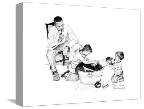 Dog?s Bath-Norman Rockwell-Stretched Canvas Print