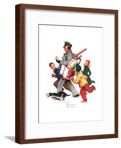 Jolly Postman-Norman Rockwell-Framed Art Print