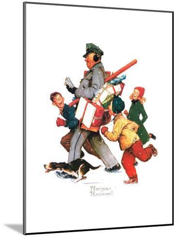 Jolly Postman-Norman Rockwell-Mounted Giclee Print