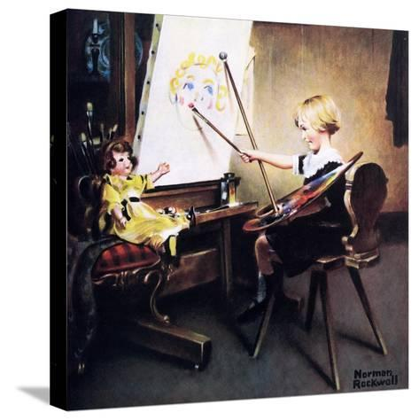 The Artist?s Daughter (or Little Girl with Palette at Easel)-Norman Rockwell-Stretched Canvas Print