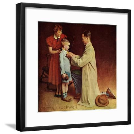 His First Day at School-Norman Rockwell-Framed Art Print