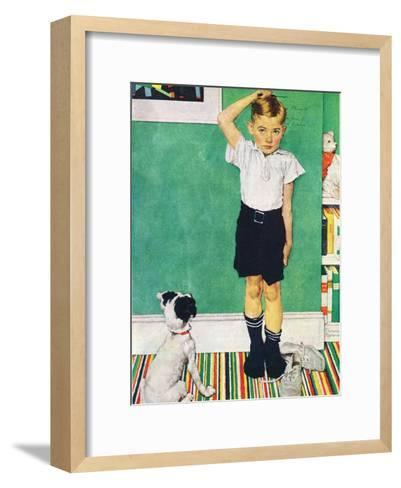 He?s Going to Be Taller Than Dad (or Boy Measuring Himself on Wall)-Norman Rockwell-Framed Art Print