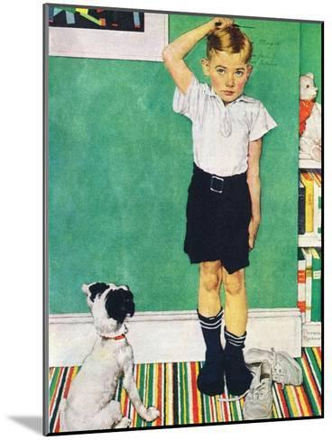 He?s Going to Be Taller Than Dad (or Boy Measuring Himself on Wall)-Norman Rockwell-Mounted Giclee Print