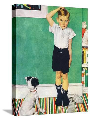 He?s Going to Be Taller Than Dad (or Boy Measuring Himself on Wall)-Norman Rockwell-Stretched Canvas Print