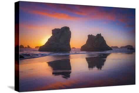 Bandon Sunset-Darren White Photography-Stretched Canvas Print