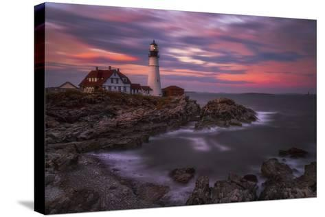 Portland Head Sunset-Darren White Photography-Stretched Canvas Print
