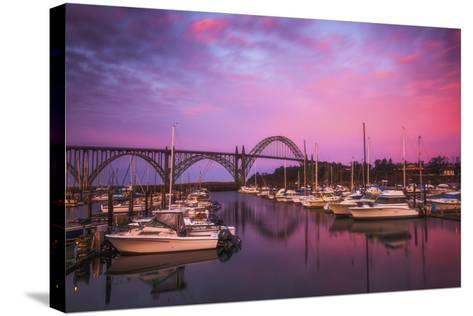 Yaquina Bay Sunrise-Darren White Photography-Stretched Canvas Print
