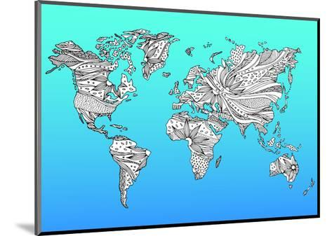 World Map Hand Drawn Flower Floral Design-benjavisa-Mounted Art Print