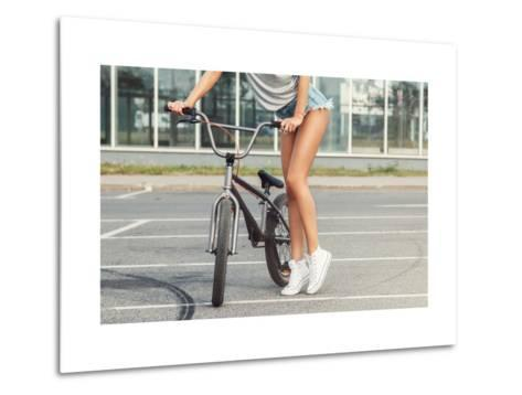 Sexy Female Legs and Bicycle-blackday-Metal Print